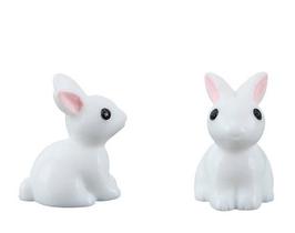Cabochon lapin blanc en résine 3D  - 23 x 20 mm