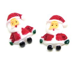 2 Cabochons Père Noël en résine  - 24 x 17 mm - CCW78