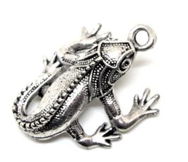 Breloque lézard en métal argenté 3D - GECKO - RZZ95