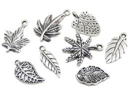 8 Breloques feuilles en métal argenté - RZZ33