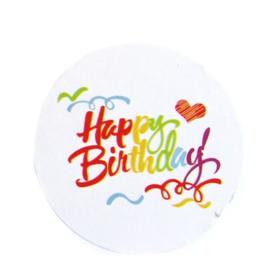 """8 étiquettes blanches autocollantes rondes écrit """" Happy Birthday """"  45 mm"""