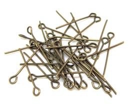 100 tiges , clous à oeil en métal couleur bronze - 22 mm