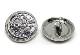 2 boutons en métal argenté  - 20 mm - B016T