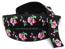 Ruban élastique noir imprimé fleurs roses - EL15