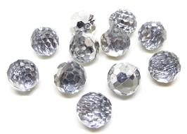 5 Boutons boules effet crisral synthétique à facettes - 12 mm - BT021