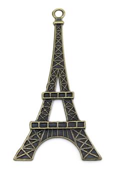 Une grande breloque tour Eiffel en métal bronze - 69 x 36 mm