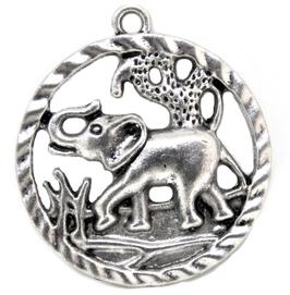 Pendentif médaillon éléphant en métal argenté ± 44 x 40 mm