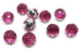 5 boutons boules roses synthétique et à facettes - 12 mm - BT020