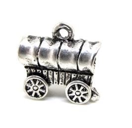 Breloque roulotte 3D en métal argenté  - RZZ48