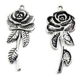 2 Breloques fleur en métal argenté - 45 x 20 mm -  RZZ104