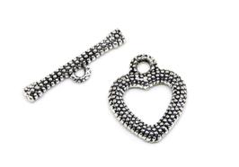 Fermoir toggle Cœur en métal argenté