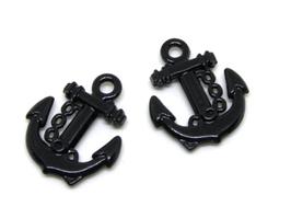 2 Breloques ancre marine en métal noir - 18 x 15 mm