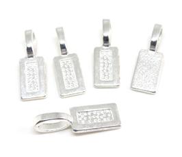 5 pendentifs à coller en métal argenté  - 21 x 7 mm - 0002