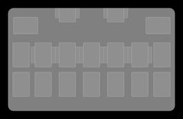 Kartenzonen für YuGiOh! - LINK einfarbig WEIß - HALBE EXTRA ZONEN