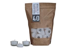 Teelichter ohne Aluhülle mit 2 Glashalter | 40 Stück