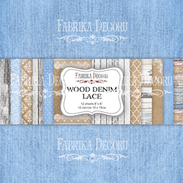 "Fabrika Decoru Motivpapier - ""Wood Denim Lace"""