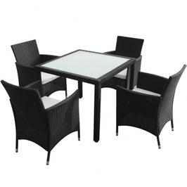 Ensemble Table et 4 Chaises extérieur poly rotin Noir