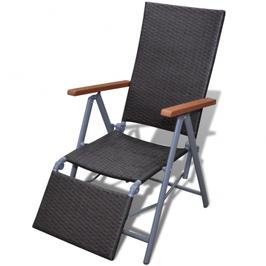 Chaise longue en poly rotin avec armature en Aluminium
