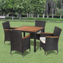 Table d'extérieur avec plateau en bois et 4 chaises en poly rotin