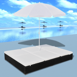 Bain de soleil double en poly rotin avec parasol