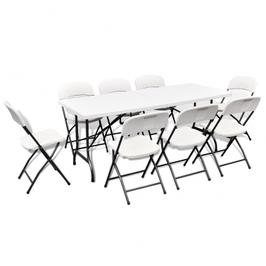 Ensemble table de jardin pliable avec 8 chaises