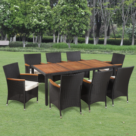 Table extérieure avec plateau en bois et 8 chaises en polyrotin
