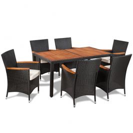 Table extérieure avec plateau acacia et 6 chaises en polyrotin