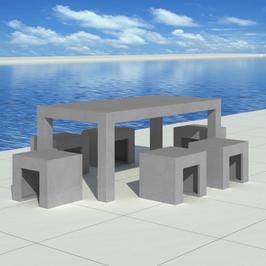Ensemble table et 6 tabourets en béton