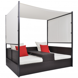 Salon transformable 2 places avec baldaquin en poly rotin