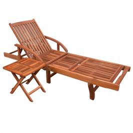 Chaise longue et tablette acacia
