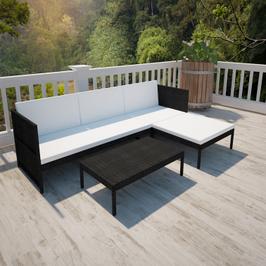 Salon d'extérieur avec canapé 3 places en poly rotin