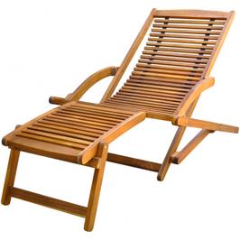 Chaise de terrasse pliable Acacia avec repose pied