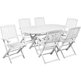 Table à manger extérieure acacia avec six chaises
