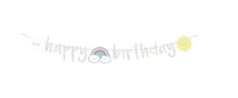 Festone Happy birthday rainbow iridescente