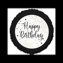 """Palloncino 18"""" mylar Happy Birthday """"Black & White"""""""