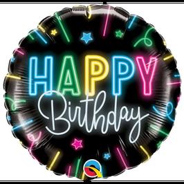 "Palloncino 18"" mylar Happy Birthday ""Neon Glow"""