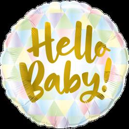 "Palloncino 18"" mylar Pastel/Gold ""Hello Baby!"""