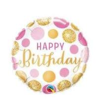 Palloncino happy birthday pois oro e rosa