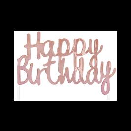 Cake Topper Happy Birthday Rose Gold