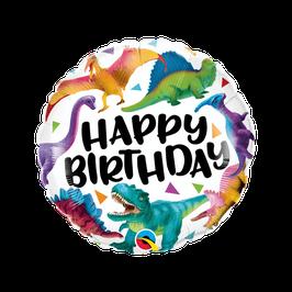 "Palloncino 18"" mylar H.Birthday Dinosauro ""Colorful Dinosaurus"""
