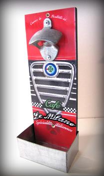 """Décapsuleur mural Alfa Romeo """" Café le Milano """" par Déco bolides"""