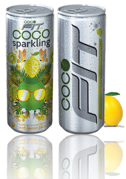 Cocofit Sparkling coconut water with lemon, 6er Pack