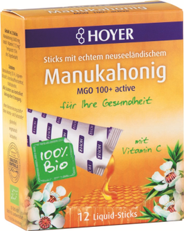 Hoyer Manukahonig, Bio, 12 Liquid-Sticks
