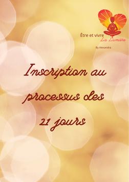 """Inscription au processus """"Être et Vivre la Lumière"""" du 1er au 21 Janvier 2021"""