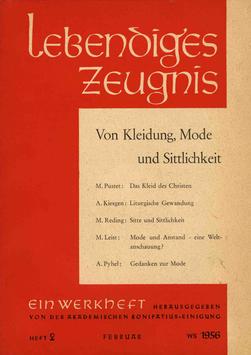 VON KLEIDUNG, MODE UND SITTLICHKEIT - 1956 Heft 1 - 11. Jahrgang