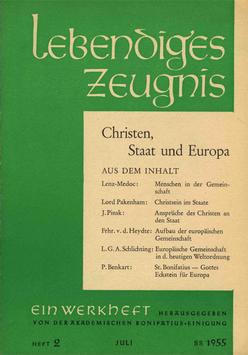CHRISTEN, STAAT UND EUROPA  - 1955 Heft 2 - 10. Jahrgang
