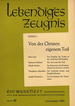VON DES CHRISTEN EIGENEM TOD - 1951 Heft 4 - 6. Jahrgang