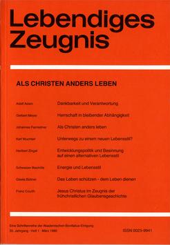 ALS CHRISTEN ANDERS LEBEN - 1980 Heft 1 - 35. Jahrgang