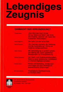 OHNMACHT DER VERKÜNDIGUNG  - 2001 Heft 1 - 56. Jahrgang