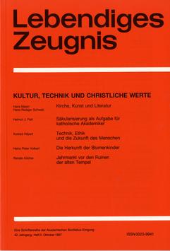 KULTUR, TECHNIK UND CHRISTLICHE WERTE  - 1987 Heft 3 - 42. Jahrgang